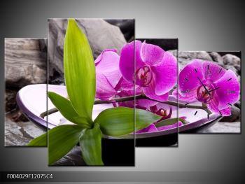 Obraz fialových orchidejí v míse (F004029F12075C4)