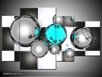 Obraz mnoha koulí na šachovnici - tyrkysová  (F004095F12075C4)