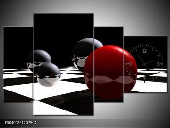 Obraz čtyř koulí na šachovnici - červená (F004098F12075C4)