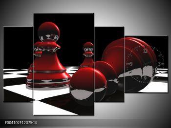 Obraz červených pěšců na šachovnici (F004102F12075C4)