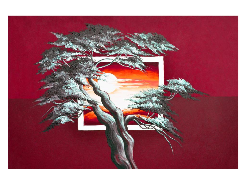 Moderní obraz stromu a východu slunce (K014022K12080)