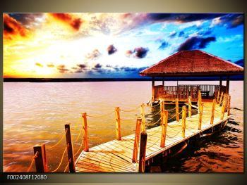 Obraz dřevěné přístavby na vodě (F002408F12080)