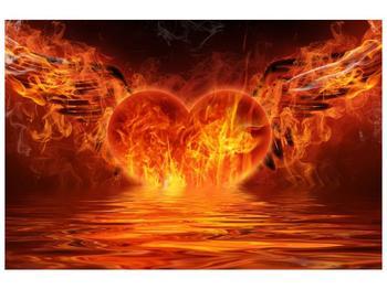 Obraz hořícího srdce s křídly  (F002884F12080)