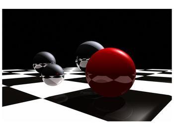Obraz čtyř koulí na šachovnici - červená (F004098F12080)