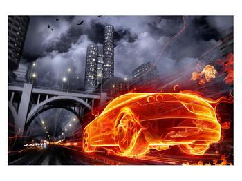 Tablou cu mașina arzând (K011167K12080)