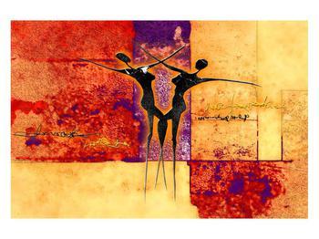 Tablou abstract cu doi dansatori (K011975K12080)