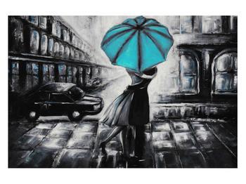 Obraz zamilovaného páru pod deštníkem (K012472K12080)