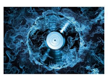 Tablou cu placă de gramofon în foc albastru (K014442K12080)