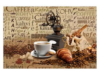 Obraz kávy, mlýnku a croissantů (K014713K12080)