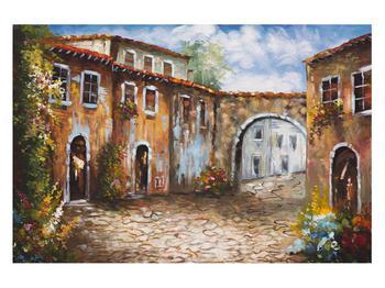 Obraz malované středomořské uličky (K014855K12080)
