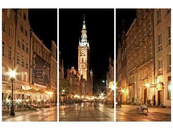 Obraz noční ulice s věží (F002338F120803PCS)