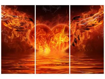 Obraz hořícího srdce s křídly  (F002884F120803PCS)