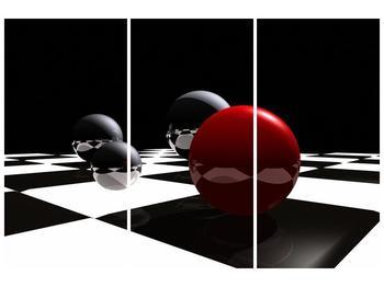 Obraz čtyř koulí na šachovnici - červená (F004098F120803PCS)