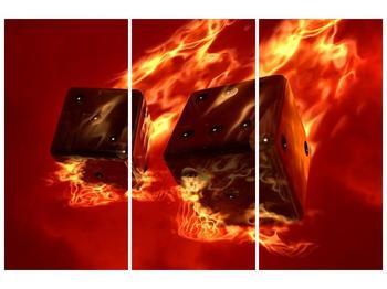 Moderní obraz hořících herních kostek (F004319F120803PCS)