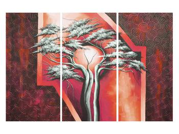 Tablou oriental roșu cu pom și soare (K014068K120803PCS)