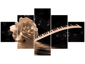 Černobílý obraz růže a klavíru (F001875F12570)