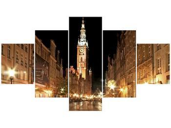 Obraz noční ulice s věží (F002338F12570)