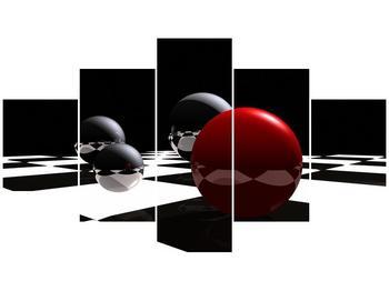 Obraz čtyř koulí na šachovnici - červená (F004098F12570)