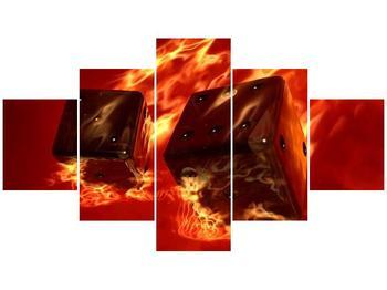 Moderní obraz hořících herních kostek (F004319F12570)