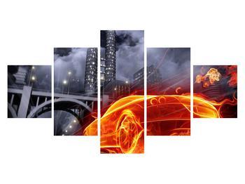 Tablou cu mașina arzând (K011167K12570)