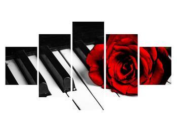 Zongora és egy rózsa képe (K011229K12570)