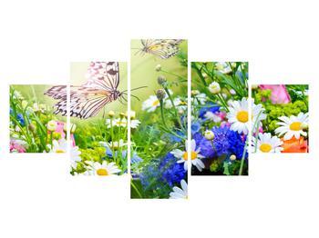 Obraz letních květů s motýlem (K012220K12570)
