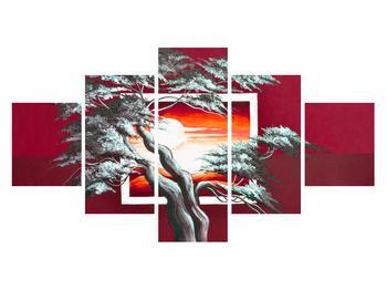 Moderní obraz stromu a východu slunce (K014022K12570)