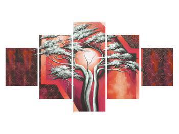 Tablou oriental roșu cu pom și soare (K014068K12570)