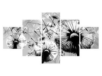 Moderní obraz černobílých pampelišek (K014188K12570)