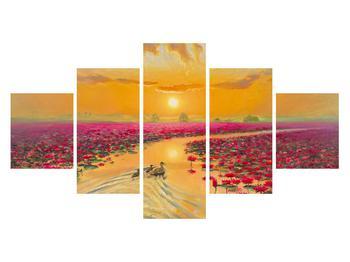 Tblou cu flori de lotus și rațe (K014993K12570)
