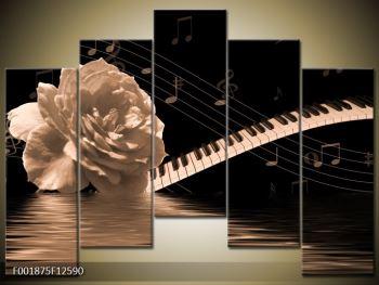 Černobílý obraz růže a klavíru (F001875F12590)