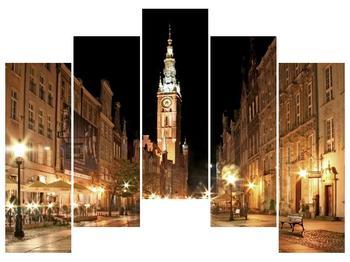 Obraz noční ulice s věží (F002338F12590)