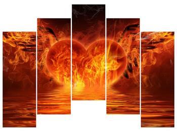 Obraz hořícího srdce s křídly  (F002884F12590)