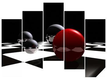 Obraz čtyř koulí na šachovnici - červená (F004098F12590)