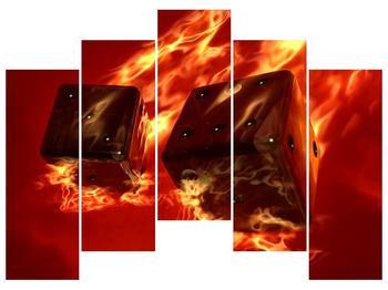 Moderní obraz hořících herních kostek (F004319F12590)