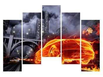Tablou cu mașina arzând (K011167K12590)