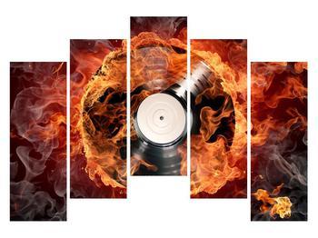 Tablou cu placă de gramofon în foc (K011171K12590)