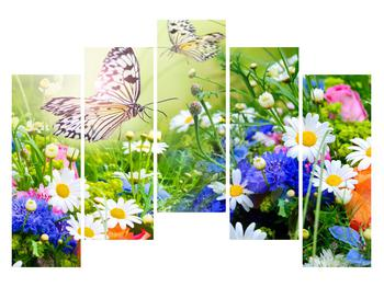 Obraz letných kvetov s motýľom (K012220K12590)