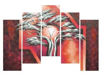 Tablou oriental roșu cu pom și soare (K014068K12590)