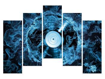 Tablou cu placă de gramofon în foc albastru (K014442K12590)