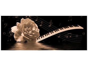 Černobílý obraz růže a klavíru (F001875F14558)