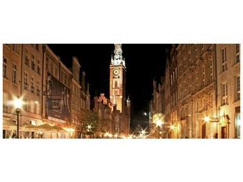 Obraz noční ulice s věží (F002338F14558)