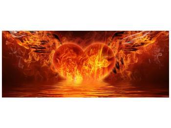 Obraz hořícího srdce s křídly  (F002884F14558)