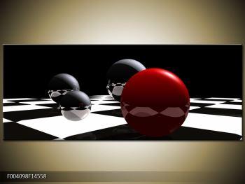 Obraz čtyř koulí na šachovnici - červená (F004098F14558)