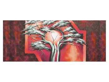Tablou oriental roșu cu pom și soare (K014068K14558)