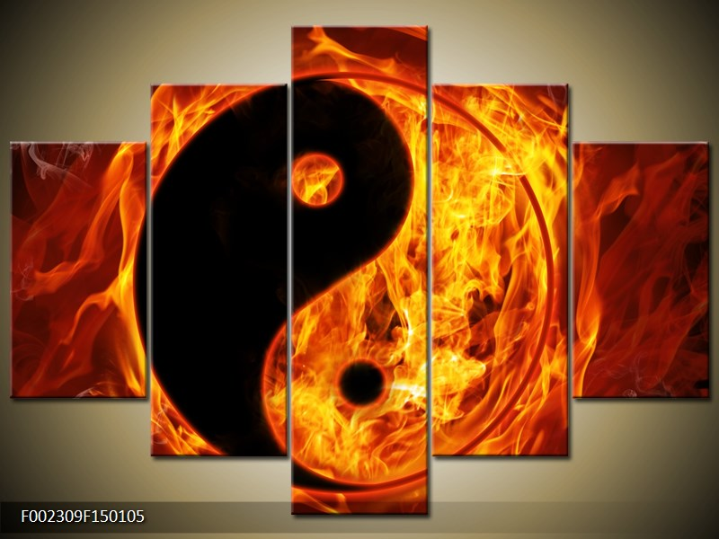 Obraz hořícího jin jang (F002309F150105)