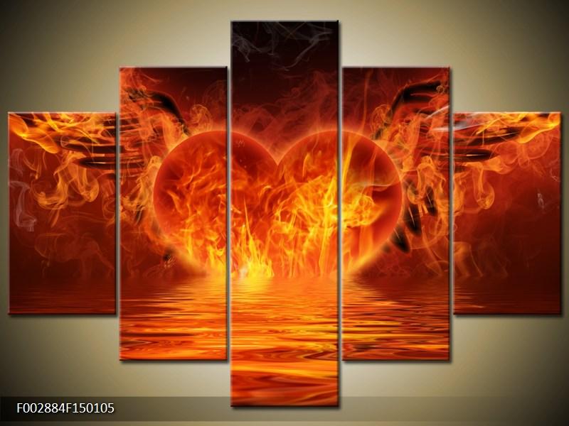 Obraz hořícího srdce s křídly  (F002884F150105)