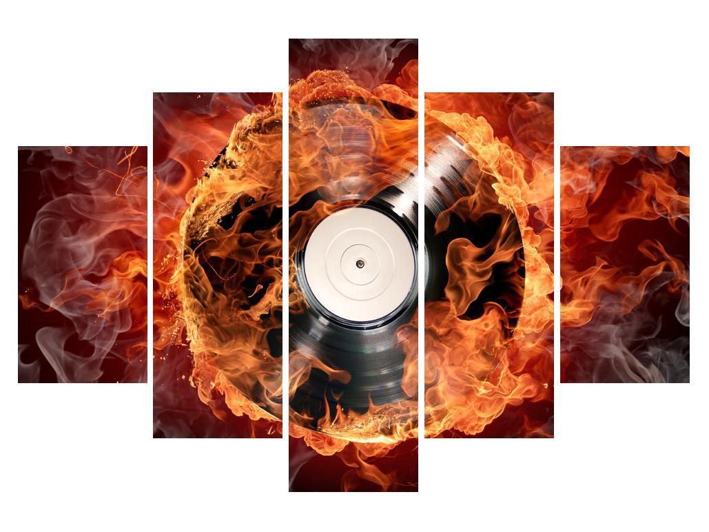 Slika gramofonske ploče u plamenu (K011171K150105)