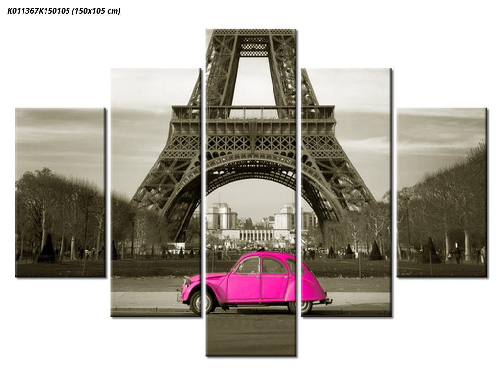 Slika Eiffelovog tornja i ružičastog automobila (K011367K150105)