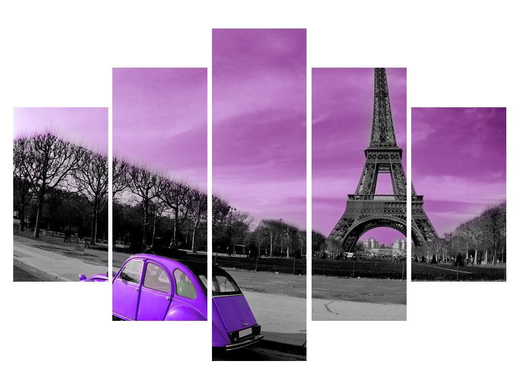 Slika Eiffelovog tornja i ljubičastog automobila (K011375K150105)